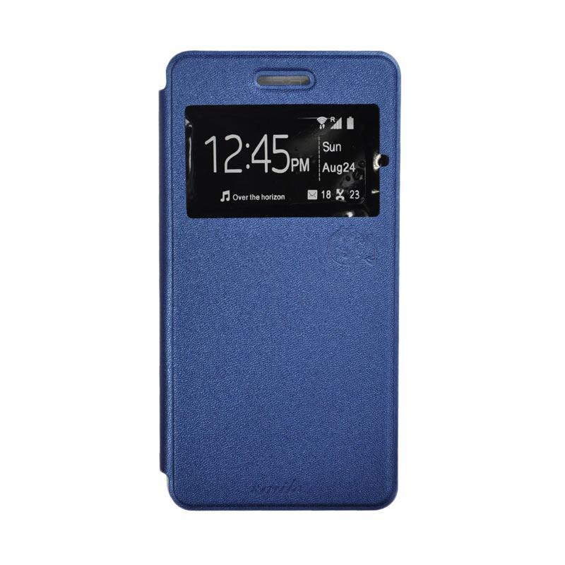SMILE Standing Flip Cover Casing for LG Stylus 2 - Deep Blue