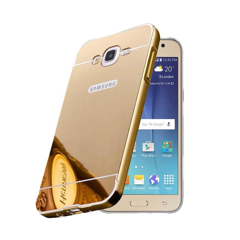Bumper Case Mirror Sliding Casing for Samsung Galaxy J1 ACE - Gold