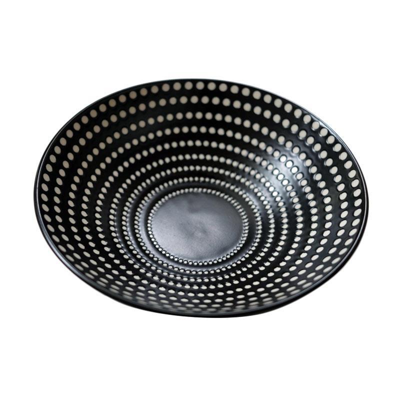 Gres Naturel Black Bowl with White Dots Mangkuk
