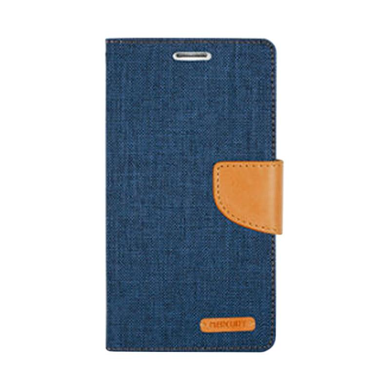 Mercury Canvas Diary Flip Cover Casing for Samsung Galaxy Note 4 Edge - Navy