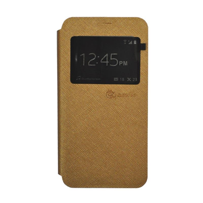 Smile Leather Standing Flip Cover Casing for Vivo X9 - Gold