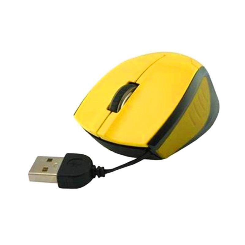 E-Blue Extency Retracable Bluewave Optical Mouse - Yellow
