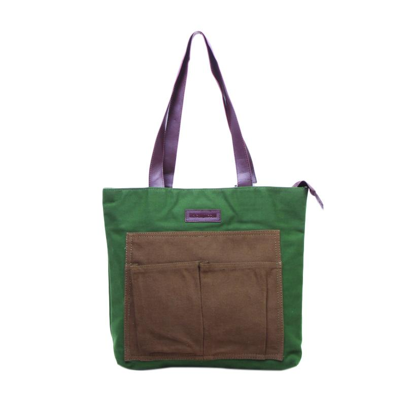 Machupicchu BTO13 Canvas Tote Bag Tas Wanita - Dark Green