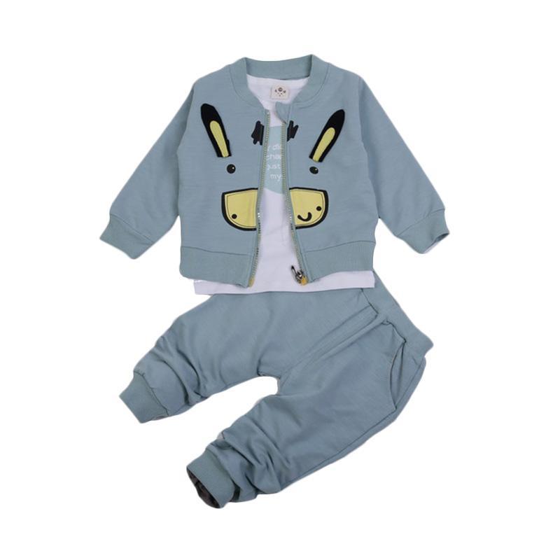 Chloebaby Shop 3 in 1 Rabbit F959 Setelan Pakaian Anak - Blue