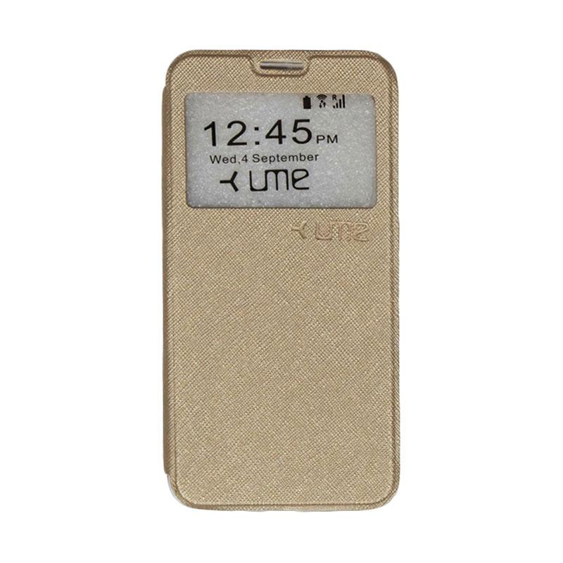 UME Flipshell Flip Cover Casing for Coolpad Fancy 3 E503 5.5 Inch - Gold