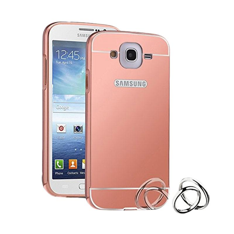 Case Bumper Metal with Back Case Sliding Casing for Samsung Galaxy A8 - Rose Gold