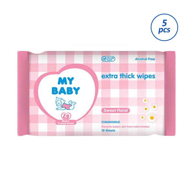 My Baby Extra Care Sweet Floral Tissue Basah [10 Sheets/5pcs]