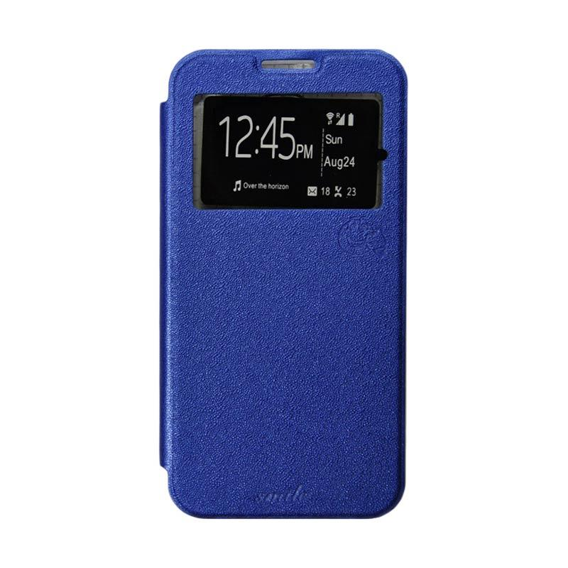 Smile Flip Cover Casing for Samsung Galaxy Core 2 - Biru Tua