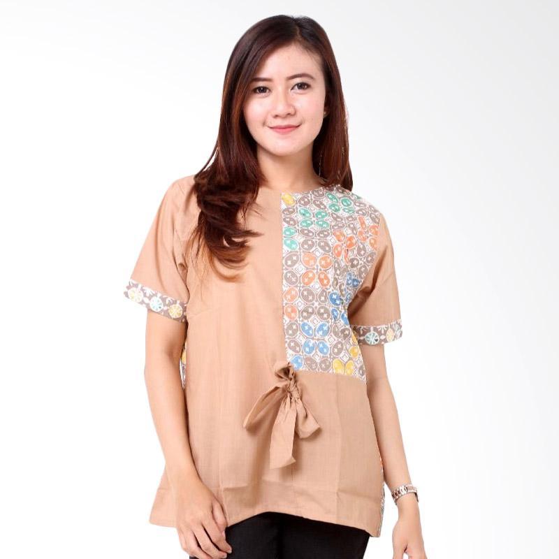 Batik Distro Pita Kombinasi BA7734 Blouse Wanita - Coklat