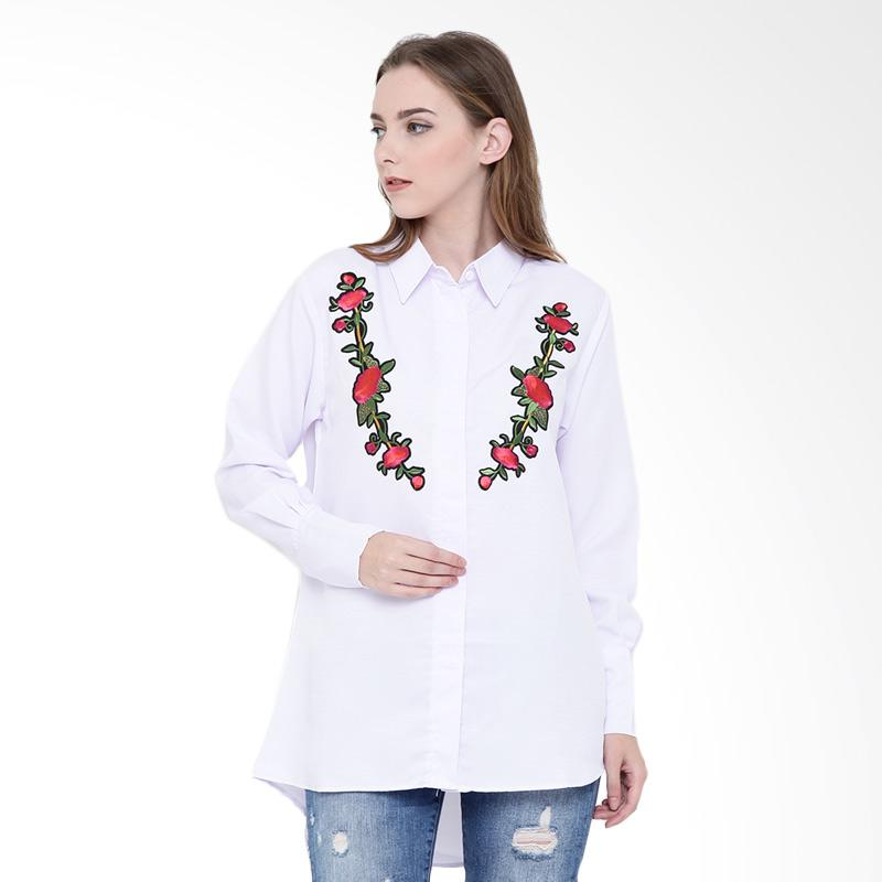 Delarosa Shirt With Floral Design Atasan Wanita - White