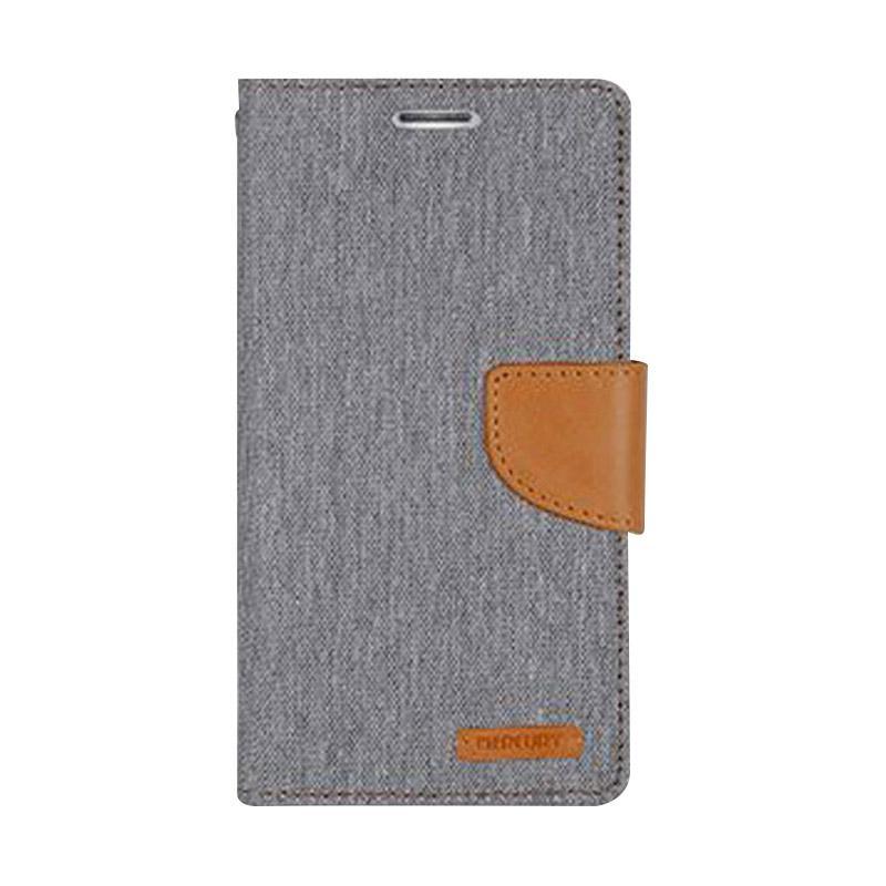 Mercury Canvas Diary Flip Cover Casing for Samsung Galaxy Note 4 Edge - Abu-abu