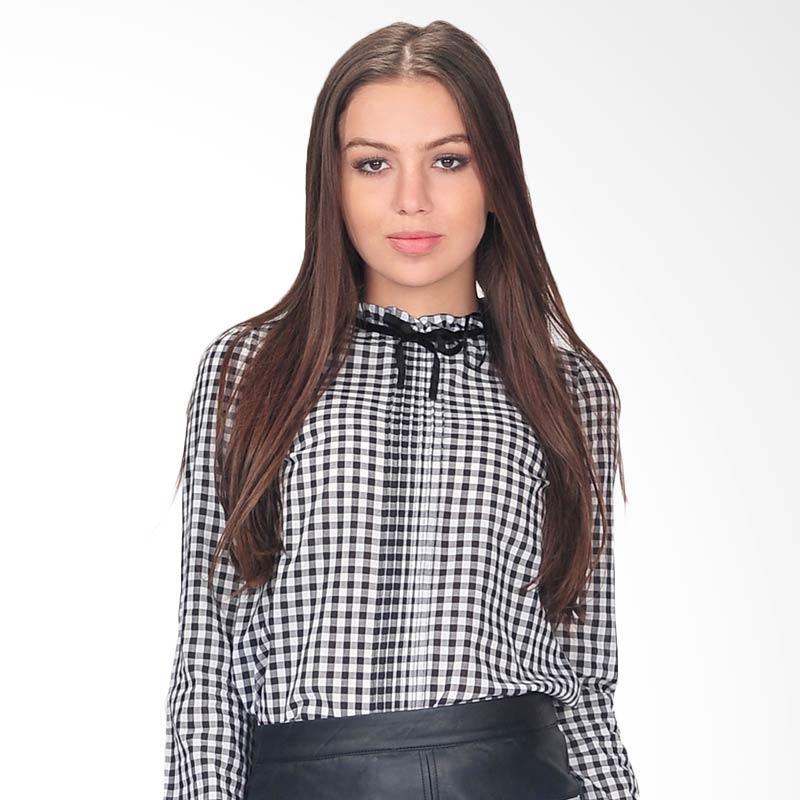 SJO & Simpaply Glamour Check Women's Blouse - Black