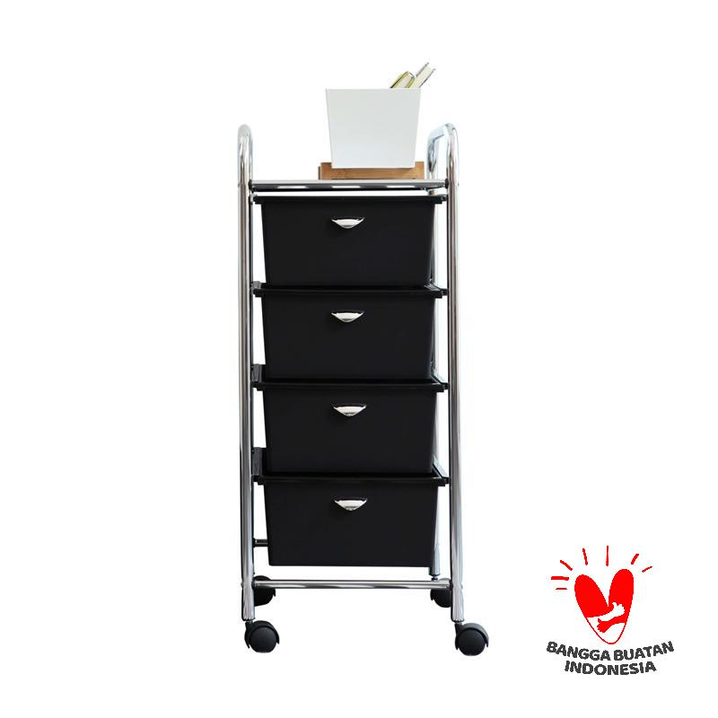 The Olive House Moving Trolly - Black [4 Drawers]