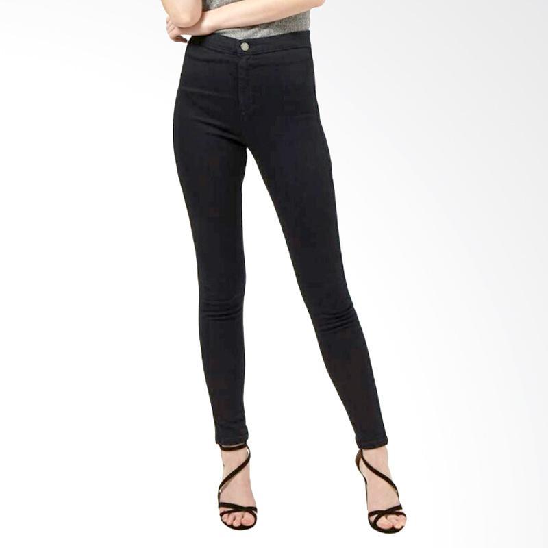 Underpego High Waist Jeans Celana Panjang Wanita - Hitam