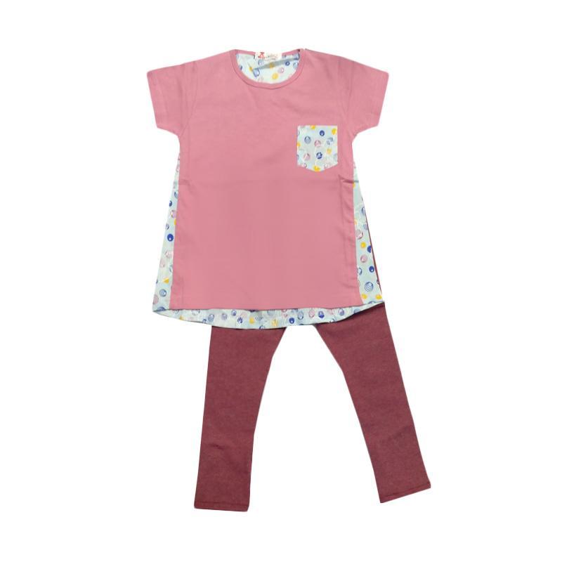 Tiny Button Toddler Girls Baju Celana - Pink Merah