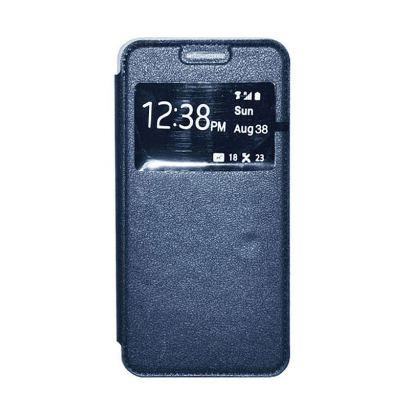 OEM Leather Book Cover Casing for Samsung Galaxy Note 4 - Navy