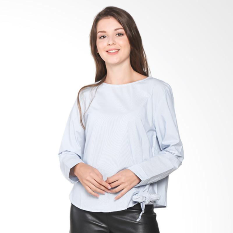 Rodeo Ladies Blouse Shirt Stripe 217-0107-BLU Atasan Wanita - Blue
