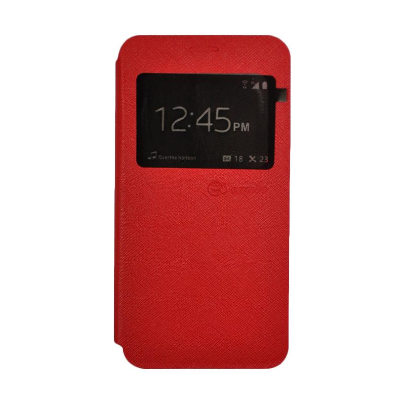 SMILE Standing Flip Cover Casing for Samsung Galaxy A5 2017 - Red