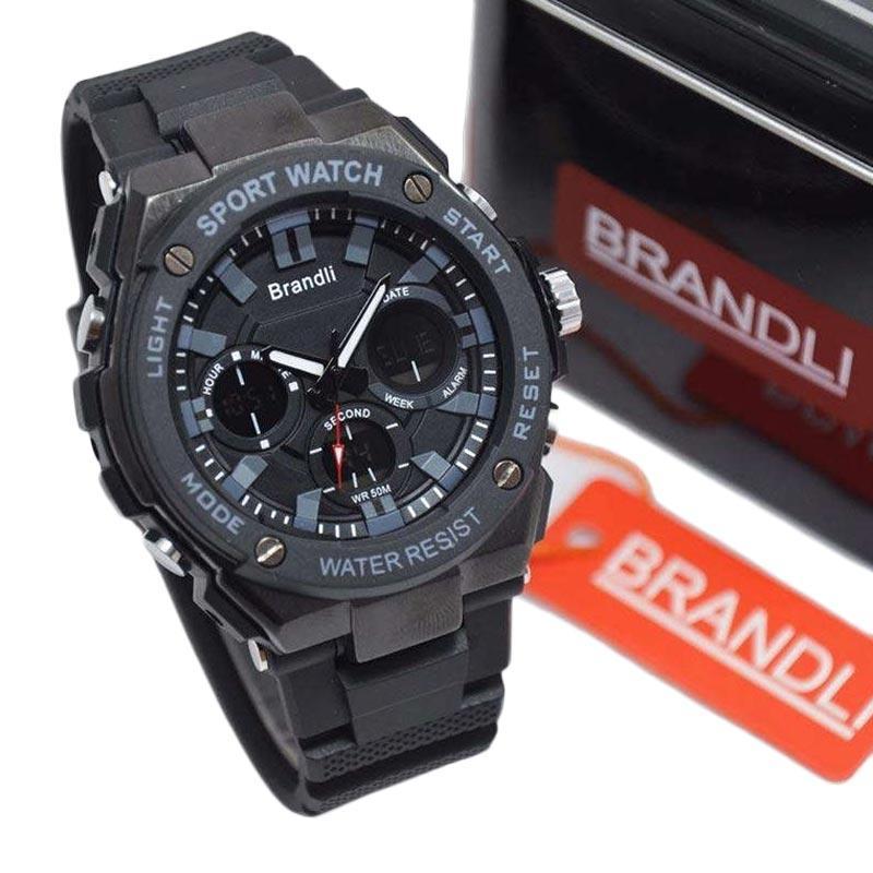 Brandli Original Double Time Rubber AD 22 Jam Tangan Pria - Hitam