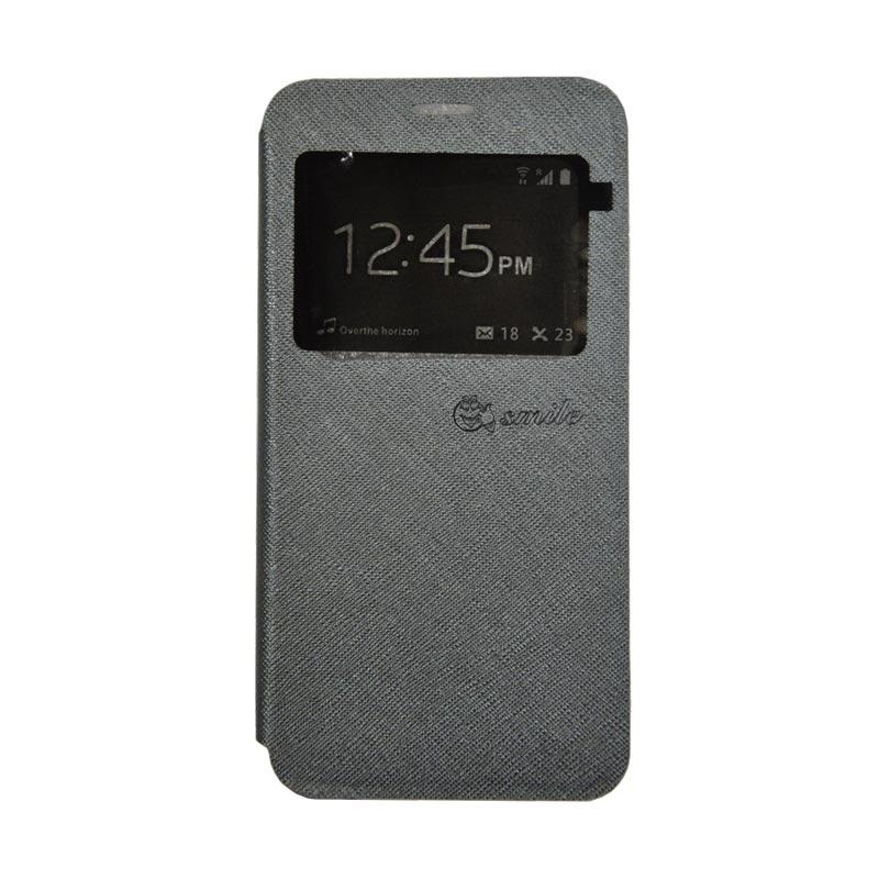 Smile Leather Standing Flip Cover Casing for Vivo V5 - Grey