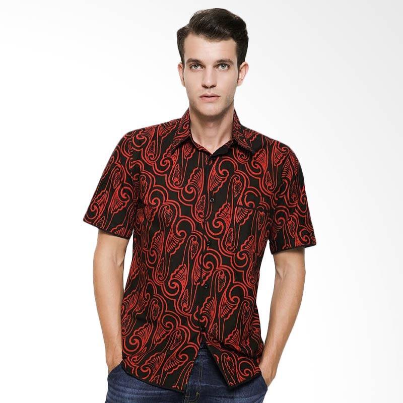 harga Batik Distro K7953 Batik Modern Pendek Kemeja Pria - Merah