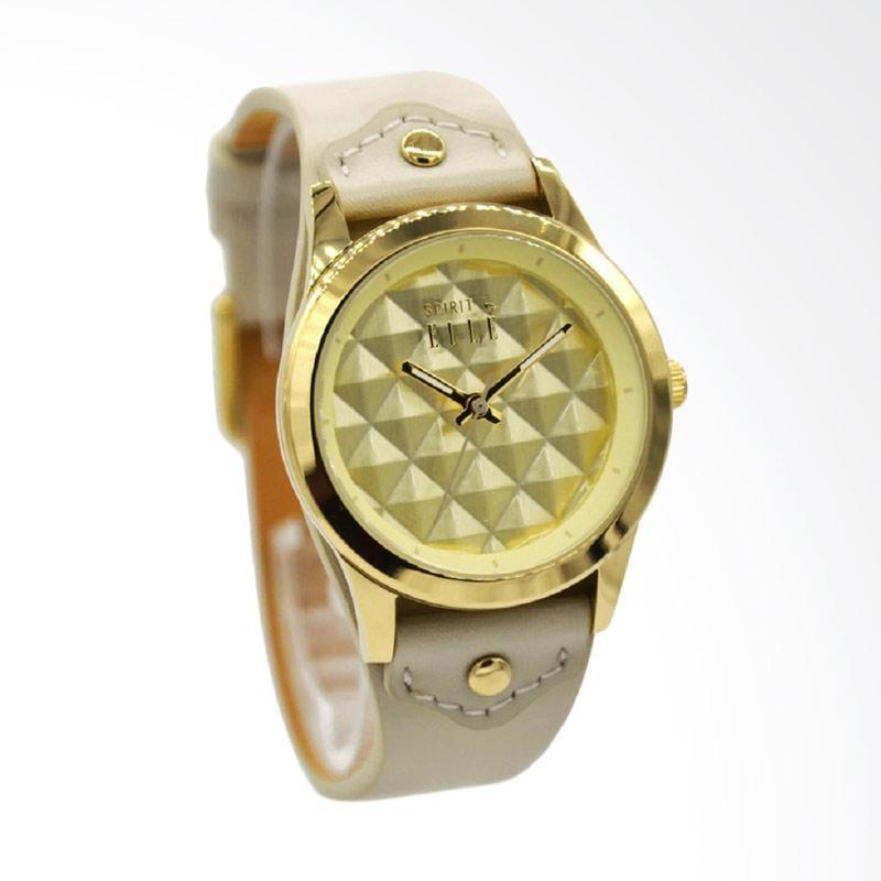 Elle Spirit ES21013S02X Leather Strap Jam Tangan Wanita - Krem Gold
