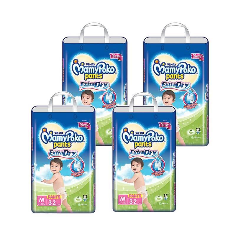 harga MamyPoko Extra Dry Pants [Karton Isi 4 Bag/32 Pcs/Size M] Blibli.com
