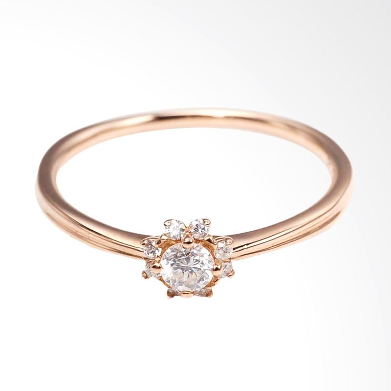 Tiaria DMKMJZ001 Perhiasan Cincin Emas with Zircon Rose Gold 9K