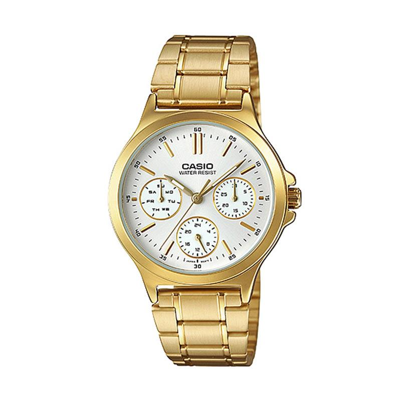 CASIO LTP-V300G-7A Multi Function Jam Tangan Wanita - Gold White