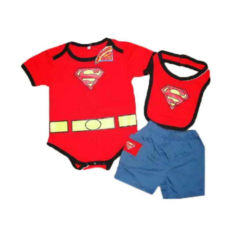 ChloeBaby shop F501 Superman Romper 3 In 1 + Bib + Pants Setelan Anak - Red