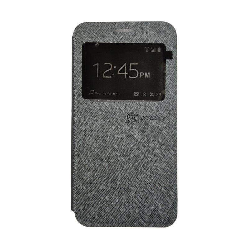 SMILE Leather Standing Flip Cover Casing for Vivo X9 - Grey