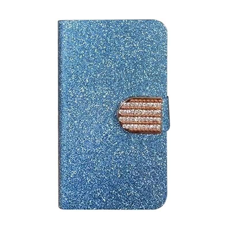 OEM Diamond Flip Cover Casing for Motorola Moto X Force - Biru