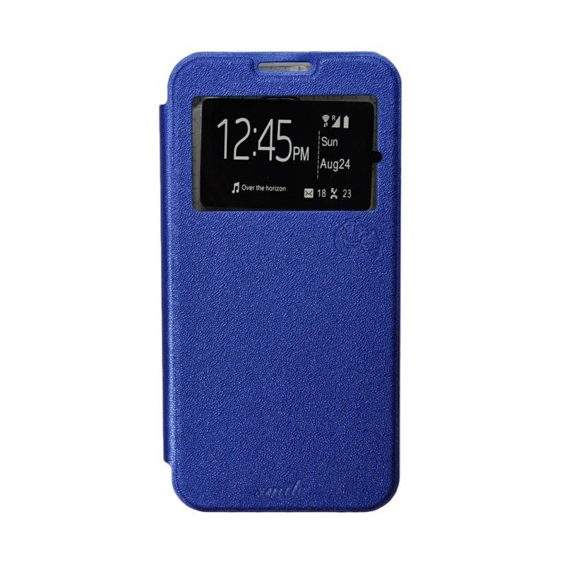 Smile Flip Cover Casing for Samsung Galaxy Mega 2 G750 - Biru Tua