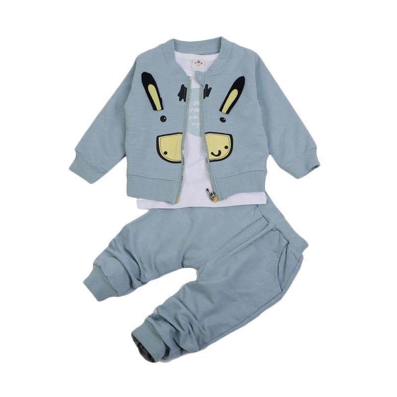 Chloebaby Shop 3 in 1 Rabbit F959 Setelan Pakaian Anak - Green