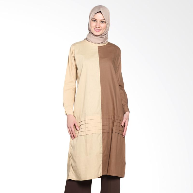 Chick Shop Unique Two Tone CO-75-04-Kr Tunik Moslem - Cream