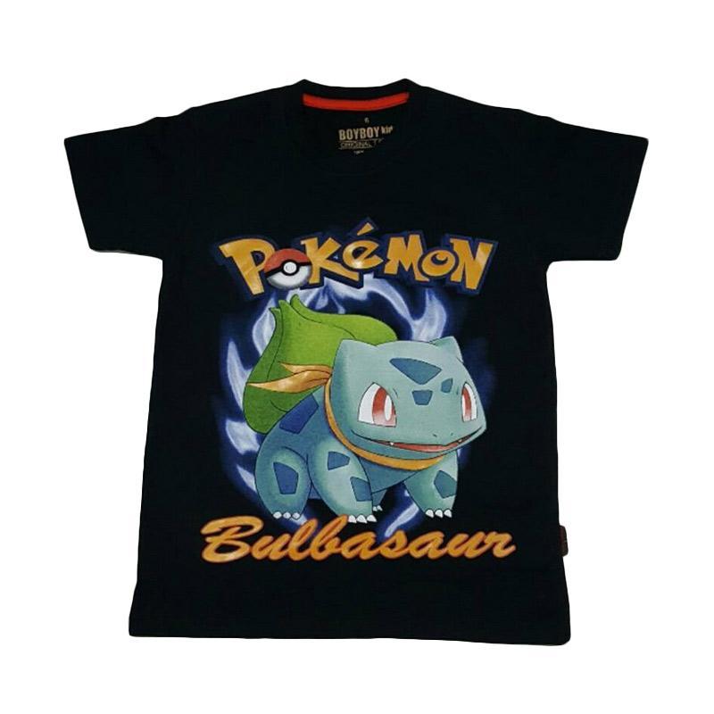 Chloebaby Shop T-shirt Pokemon Bulbasaur F919 Atasan Anak - Hitam