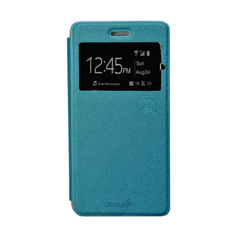 Smile Flip Cover Casing for Samsung Galaxy Grand 3 - Biru Muda
