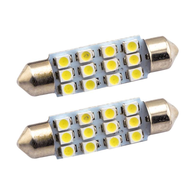JMS 12 SMD 1210 Lampu LED Mobil For Kabin Or Plafon - White [1 Pair/2 Pcs/39 Mm]