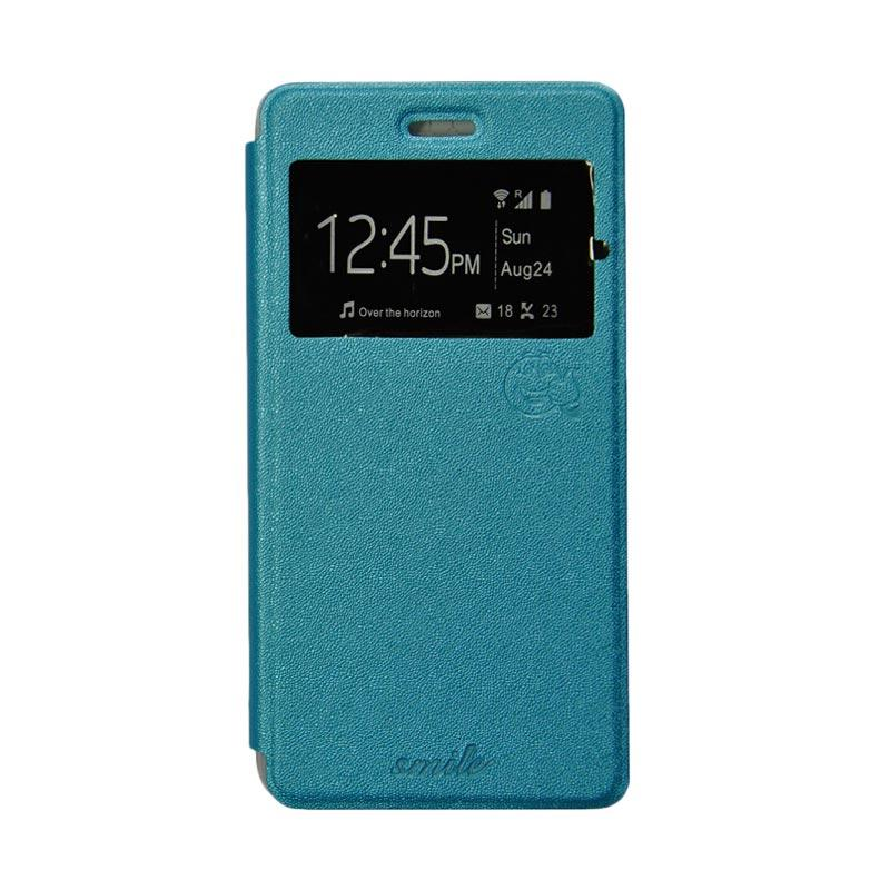 Smile Flip Cover Casing for Samsung Galaxy Mega 2 G750 - Biru Muda