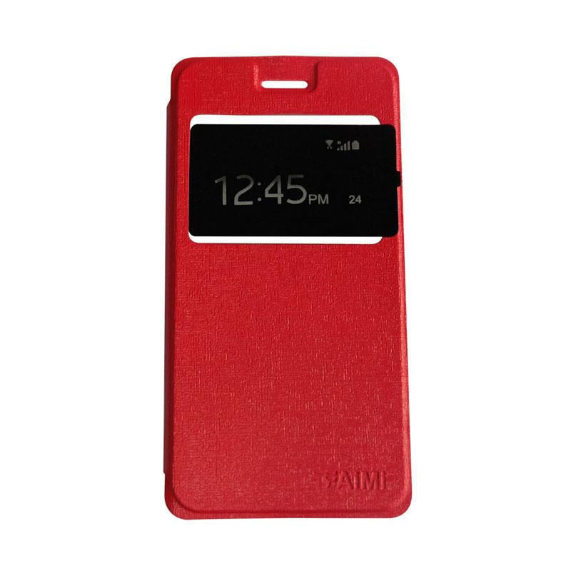 Aimi Flipshell Flip Cover Casing for Samsung Galaxy J7 Core Leather Case / Sarung Hp - Merah