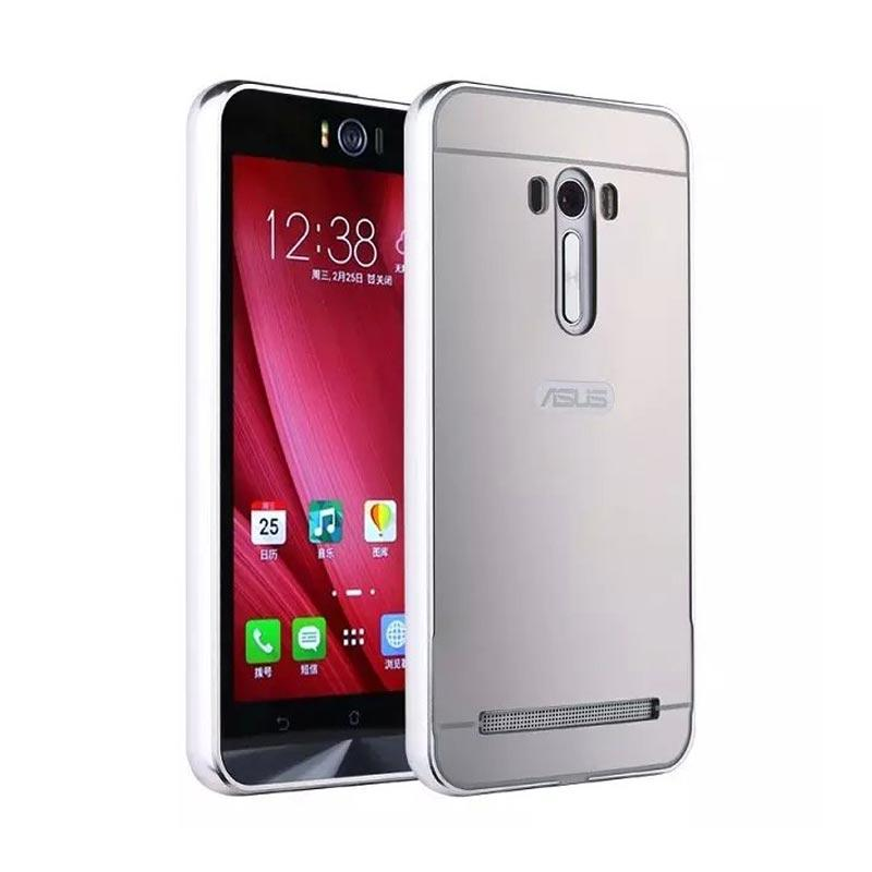 Case Bumper Metal with Back Case Sliding Casing for Asus Zenfone Selfie - Silver