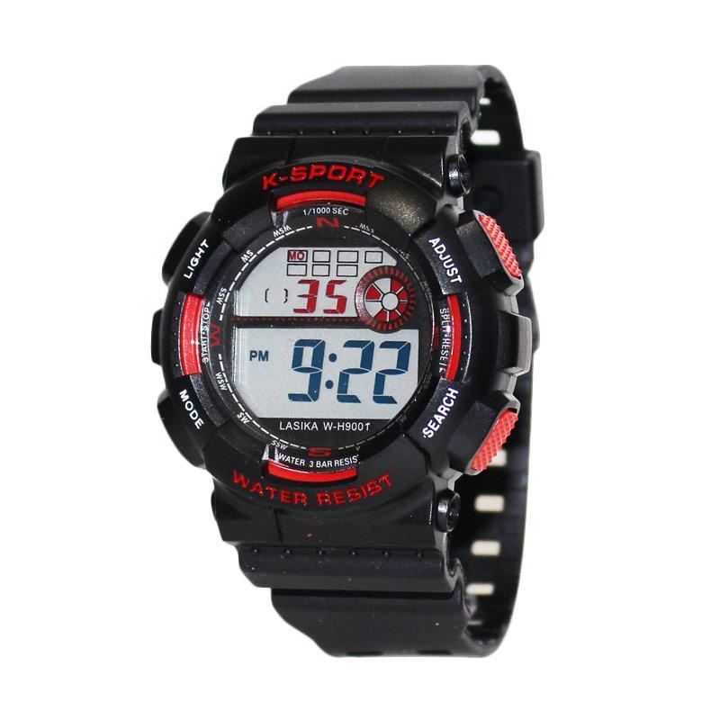 Lasika W-H5001 Jam Tangan Sporty Water Resistant - Hitam Merah