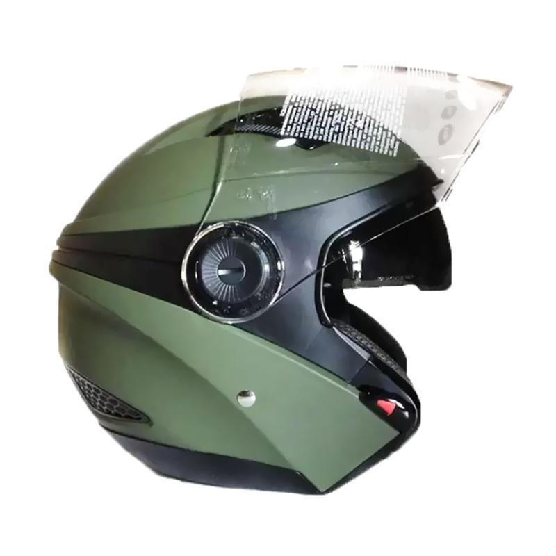 Zeus ZS-610K Polos Double Visor Helm Half Face - Hijau Tua Dove