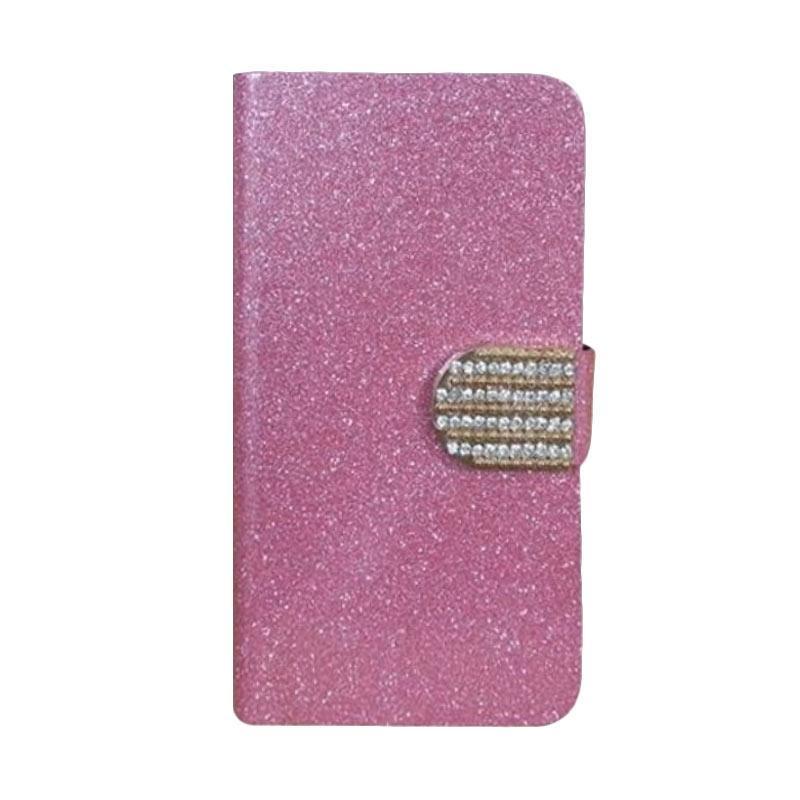 OEM Diamond Flip Cover Casing for HTC Desire 828 Dual Sim - Merah Muda