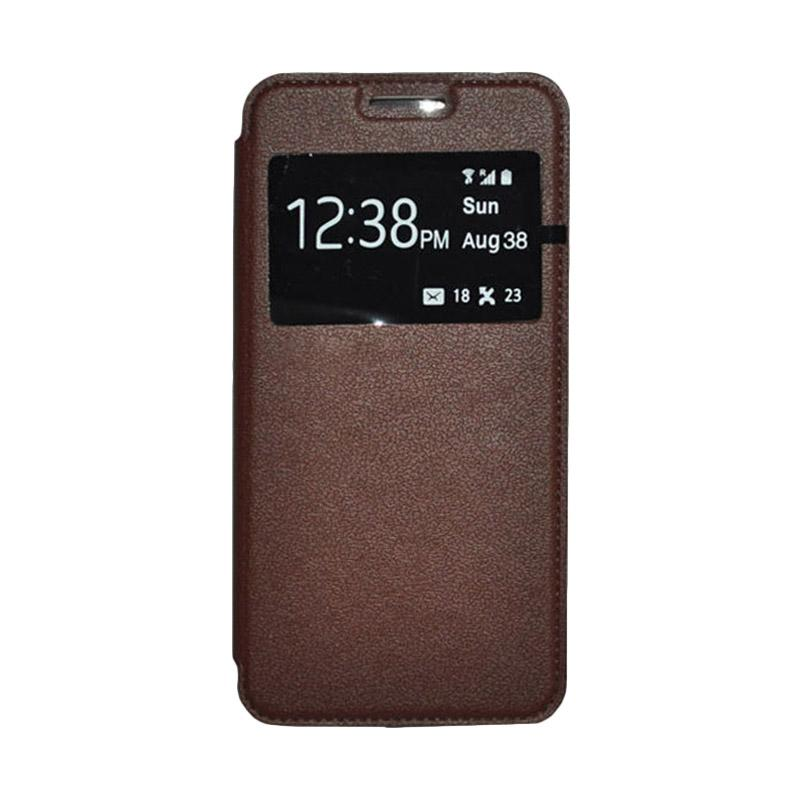 OEM Leather Book Cover Casing for Samsung Galaxy Note 4 - Brown