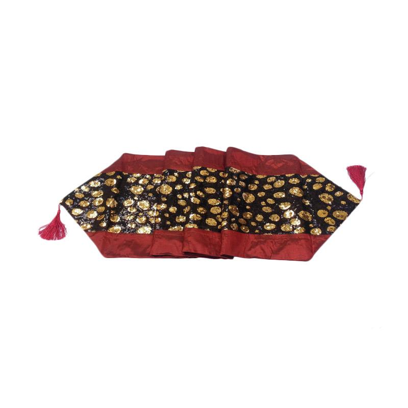 Tren-D-home Satin Full Manik Table Runner - Maroon [33 x 180 cm]