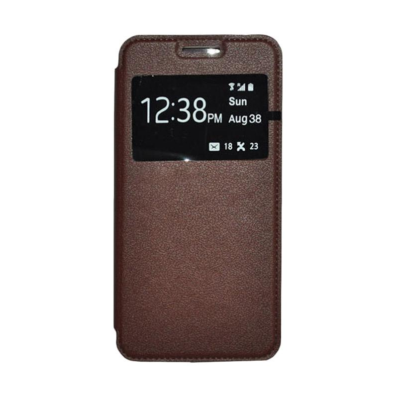 OEM Leather Book Cover Casing for Samsung Galaxy Note 5 - Brown