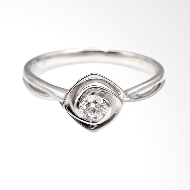 Tiaria DJXJZ001 Perhiasan Emas Cincin Emas Putih with Zircon [9K]