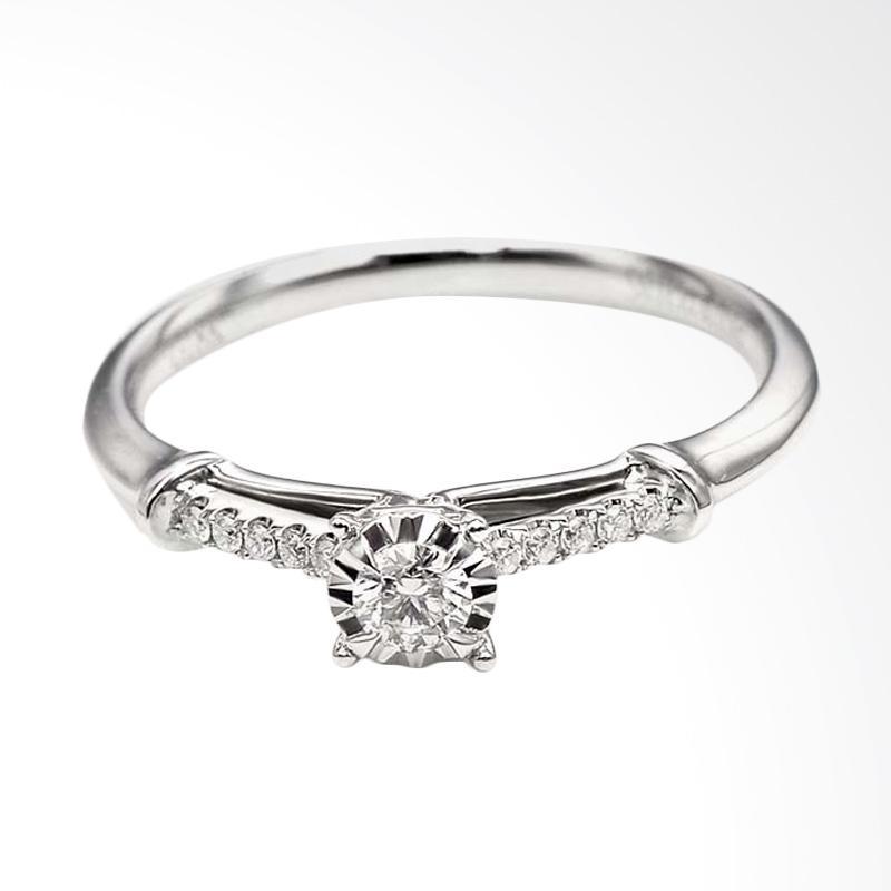 Tiaria DJXJZ012 Perhiasan Emas Cincin Emas Putih 9K with Zircon