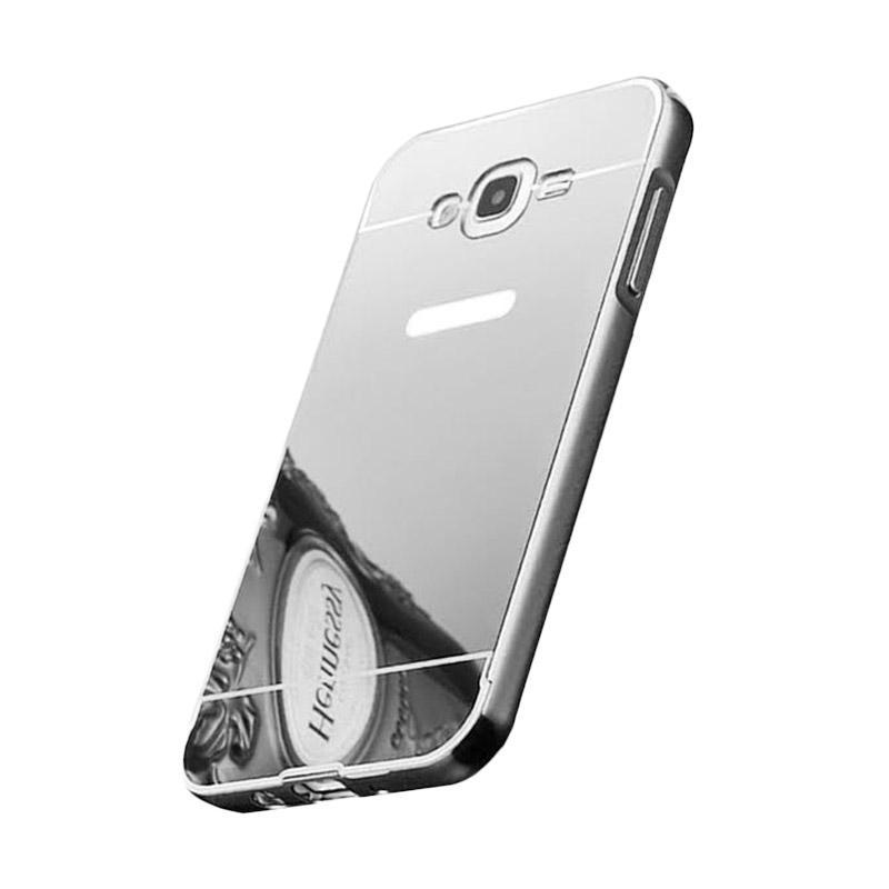 Bumper Case Mirror Sliding Casing for Samsung Galaxy E7 - Silver